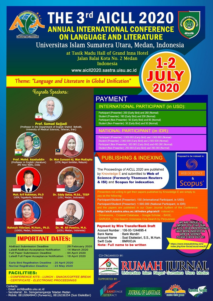 THE THIRD ANNUAL INTERNATIONAL CONFERENCE ON LANGUAGE AND LITERATURE (AICLL) 2020