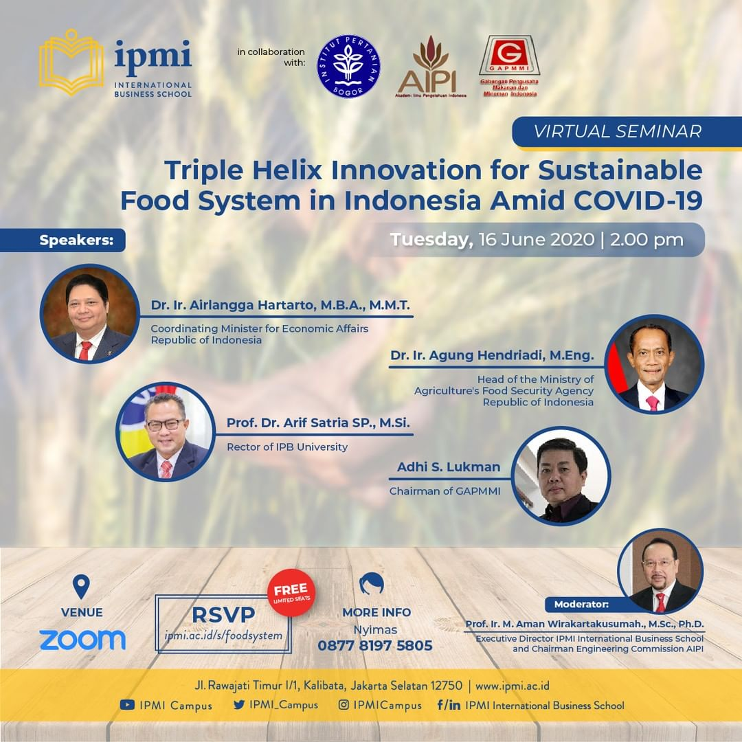[Webinar] Triple Helix Innovation for Sustainable Food System in Indonesia Amid COVID-19