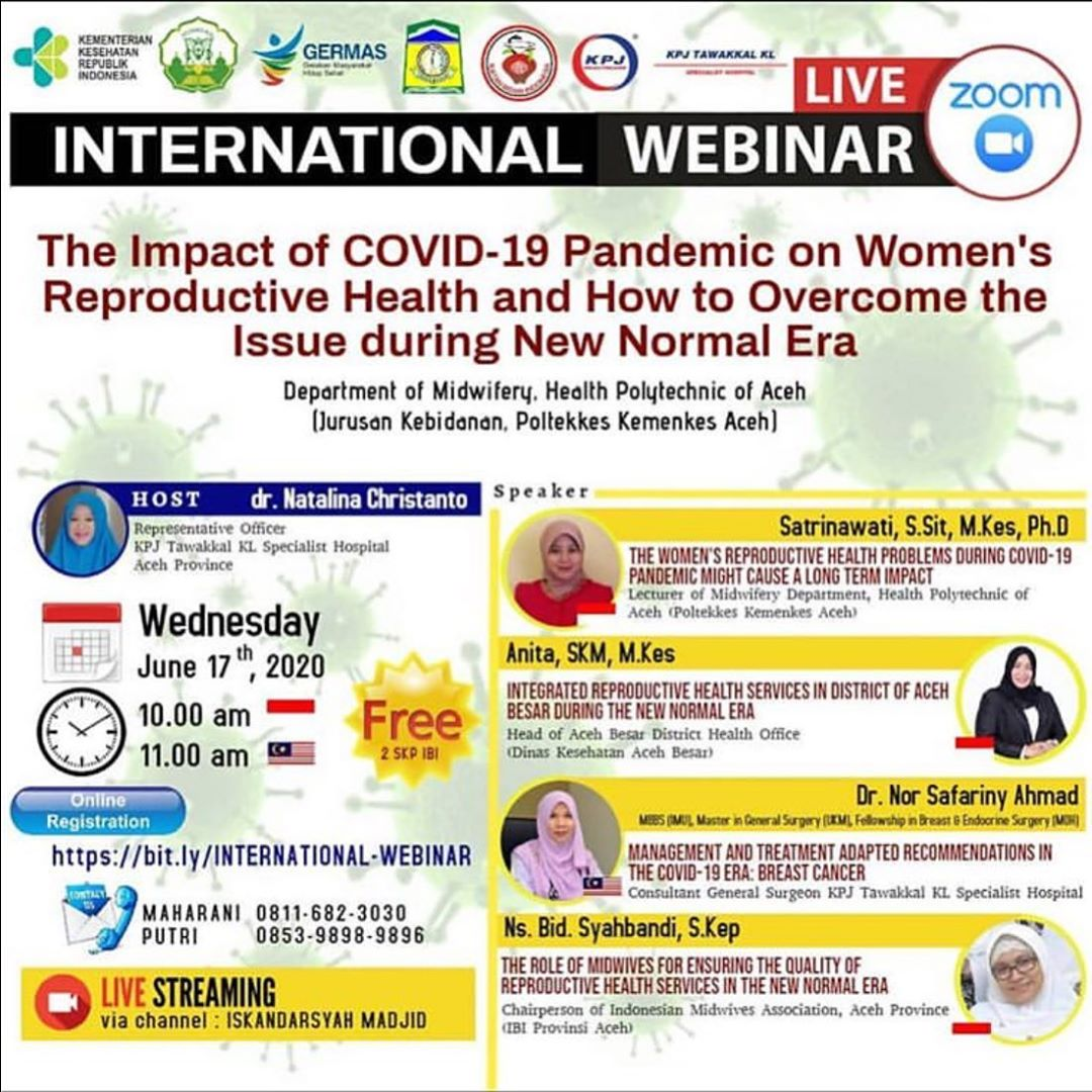 """International Webinar """"The Impact of COVID-19 Pandemic on Women's Reproductive Health and How to Overcome the Issue during New Normal Era"""""""