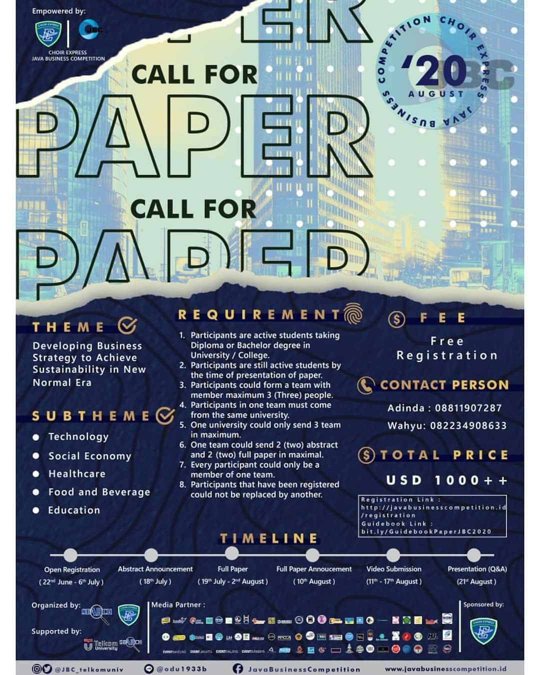 CALL FOR PAPER CHOIR EXPRESS JAVA BUSINESS COMPETITION (JBC) 2020