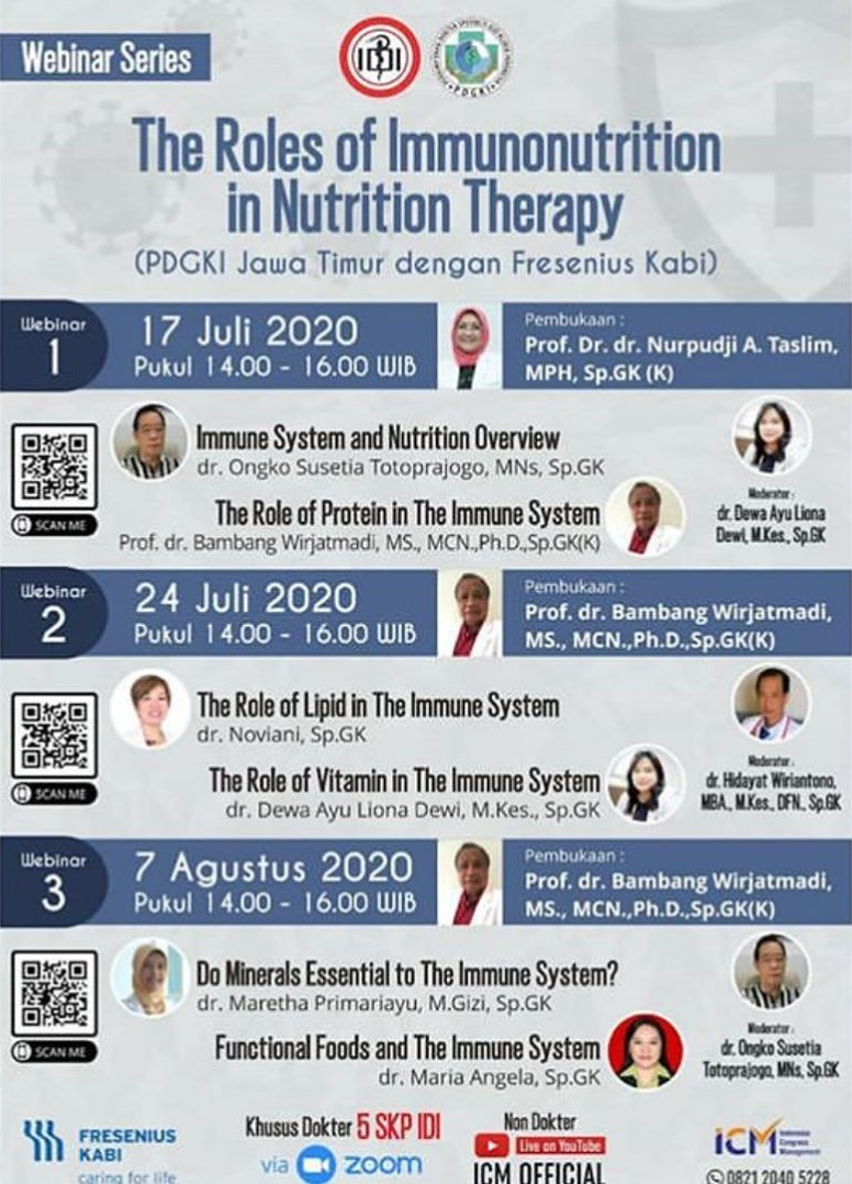 Webinar Series: The Roles of Immunonutrition in Nutrition Therapy (Includes in Covid-19 Infection)