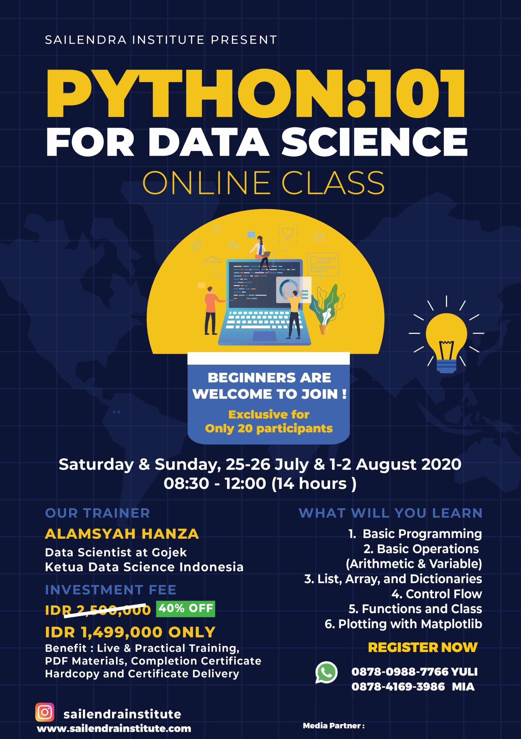PYTHON:101 for Data Science Online Class by Sailendra Institute