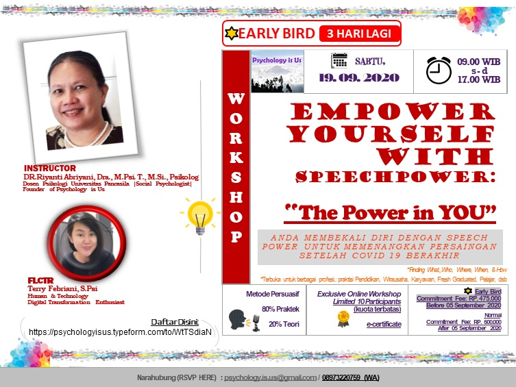 """Exclusive Online Workshop -EMPOWER YOURSELF WITH SPEECHPOWER: """"The Power in You"""""""