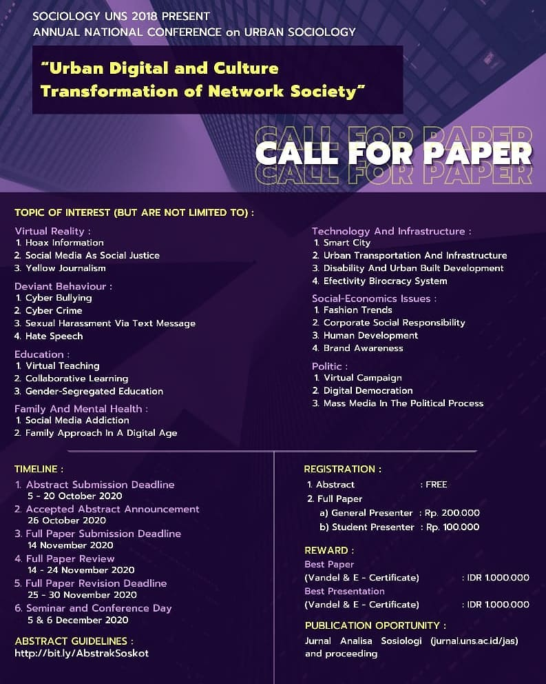 """CALL FOR PAPER """"Urban Digital and Culture Transformation Of Network Society"""""""