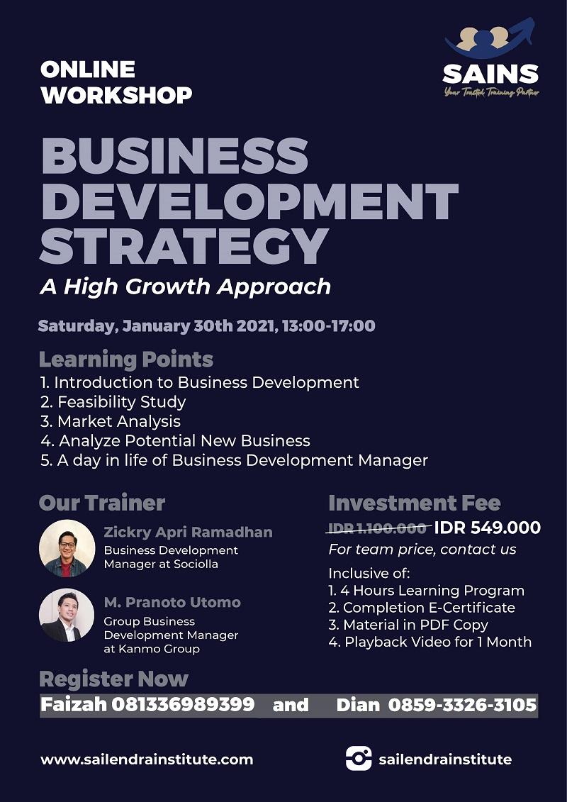 Workshop Business Development Strategy – Online by Sailendra Institute