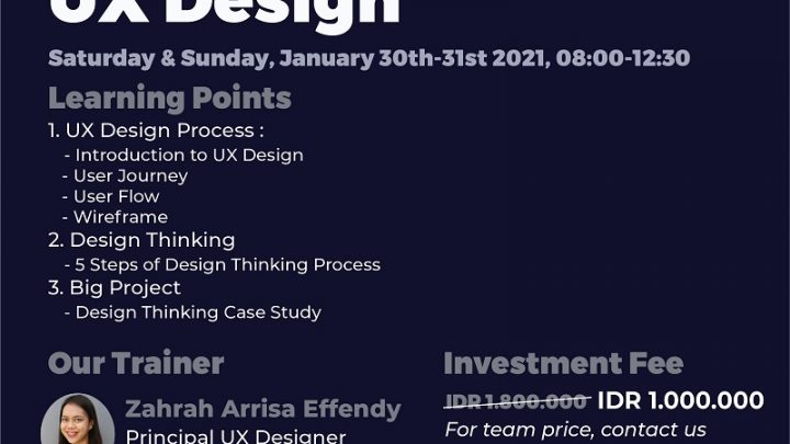 Training Principles & Implementation of UX DESIGN – Online by Sailendra Institute