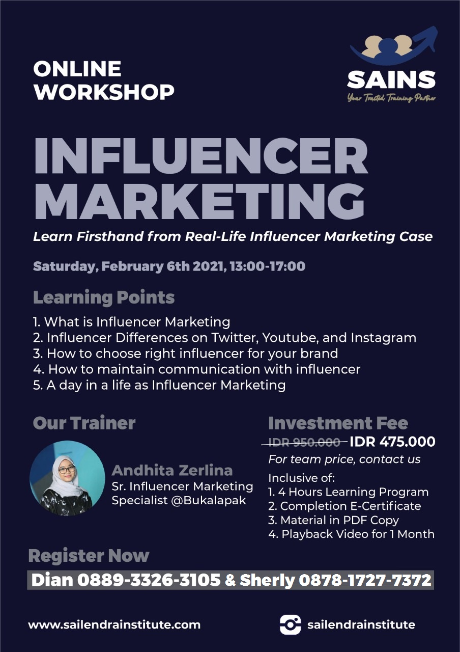 Workshop Understanding Influencer Marketing : Learn Firsthand From Real-life Influencer Marketing case