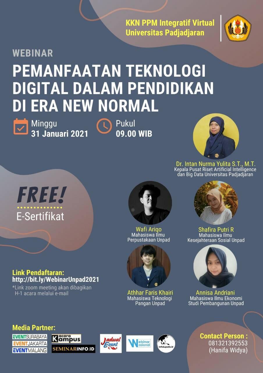 """Webinar : Pemanfaatan Teknologi Digital Dalam Pendidikan di Era New Normal"""