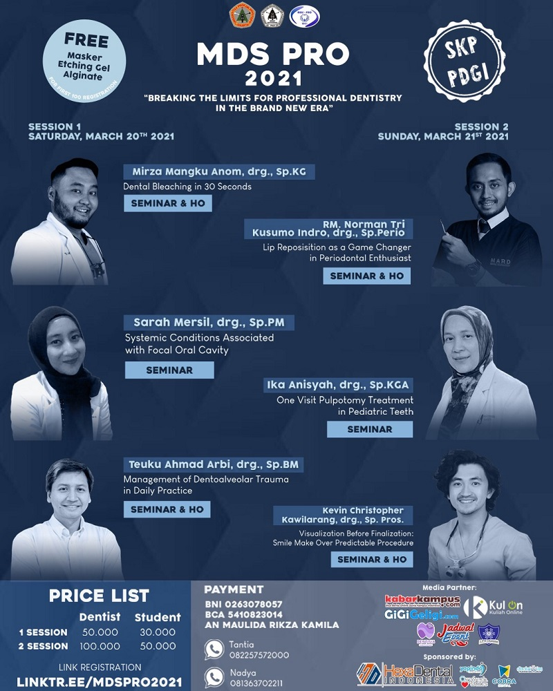 """Seminar & Hands-On MDS Pro 2021: """"Breaking the Limits for Professional Dentistry in the Brand New Era"""""""