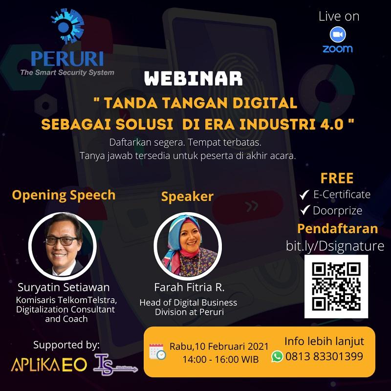 Webinar Tanda Tangan Digital Sebagai Solusi Di Era Industri 4.0