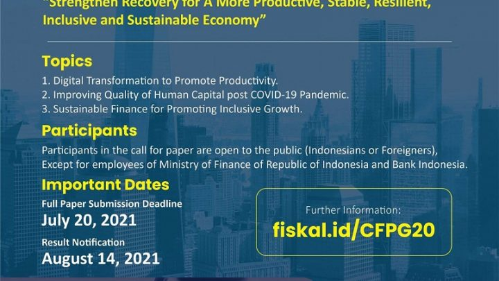 [CALL FOR PAPERS Road to Indonesia G20 Presidency 2022]