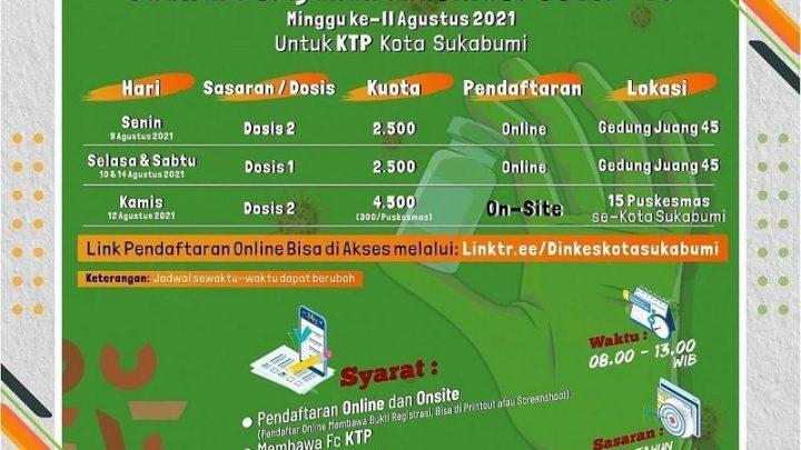Jadwal Pelayanan Vaksinasi Covid-19 Kota Sukabumi