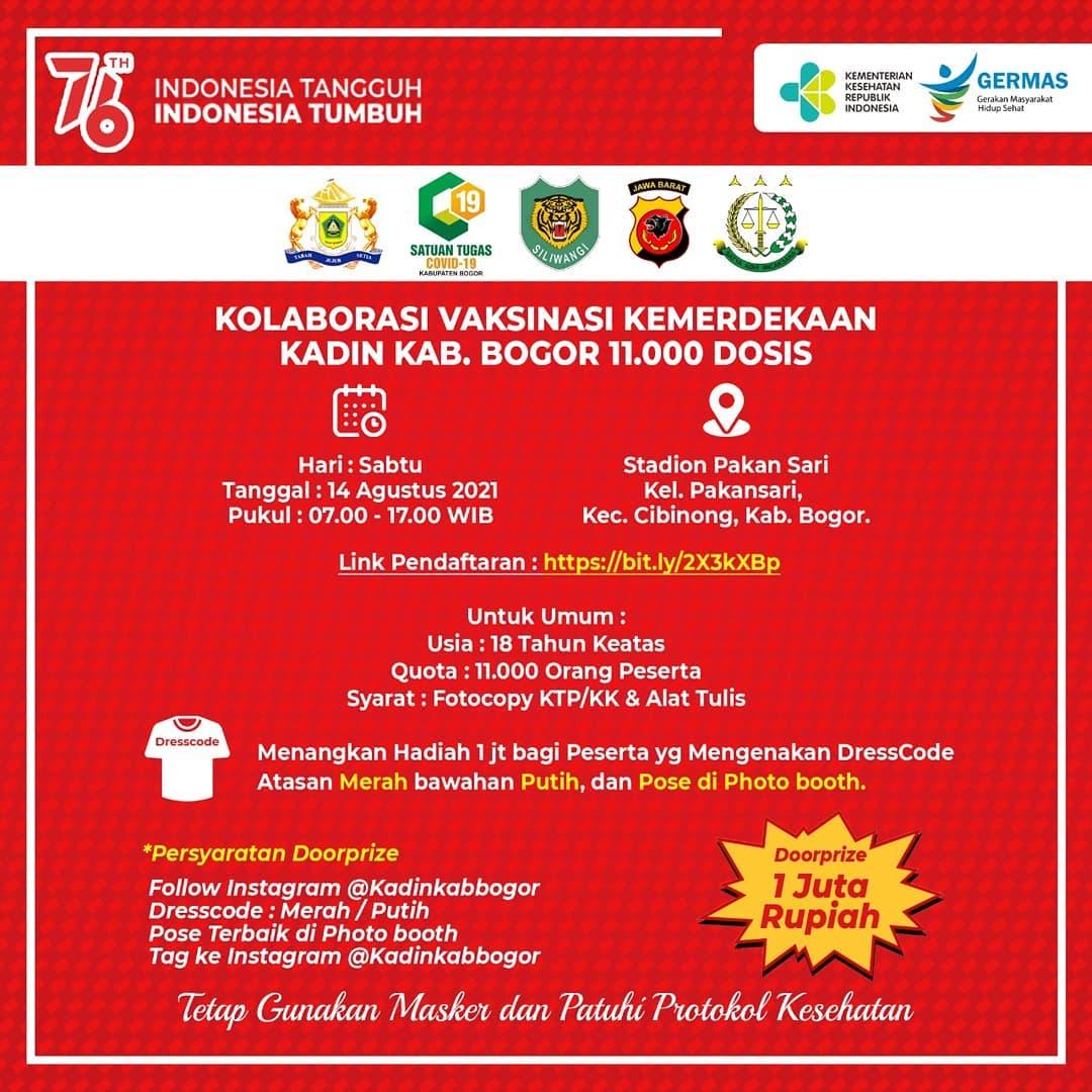 Kolaborasi Vaksin Kemerdekaan Kabupaten Bogor (penambahan kuota)