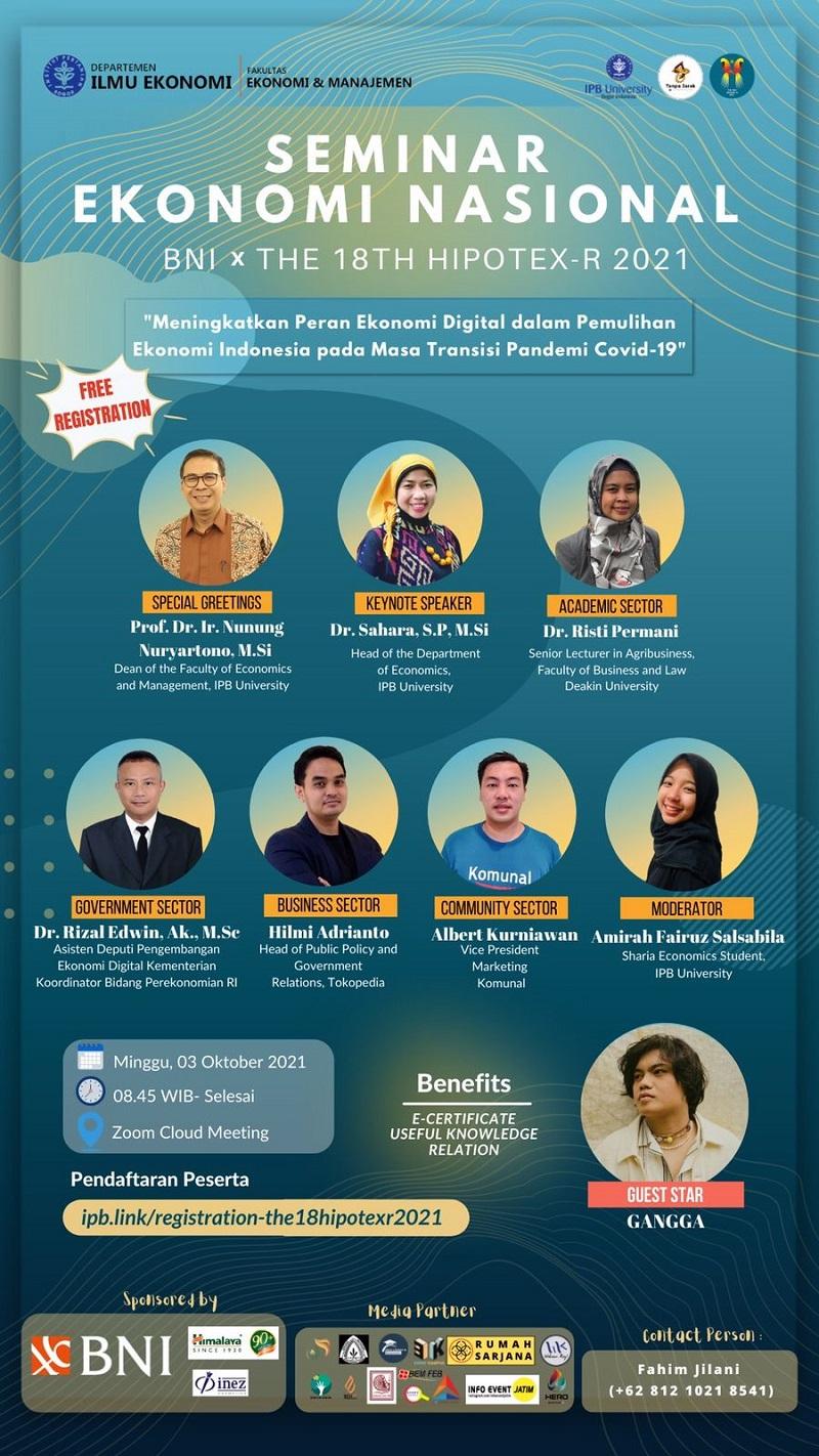 Webinar Ekonomi Nasional BNI X The 18th HIPOTEX-R 2021